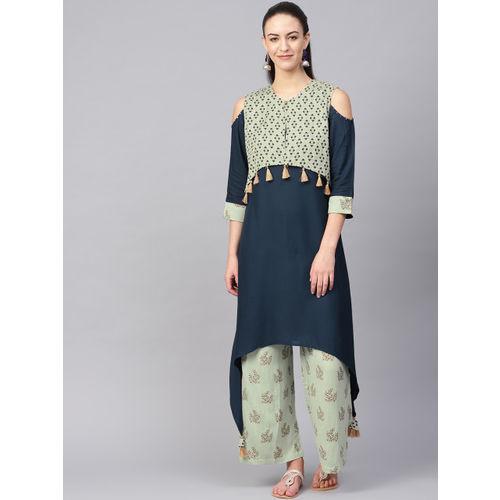 Shree Women Navy Blue & Green Solid Kurta with Palazzos & Ethnic Jacket