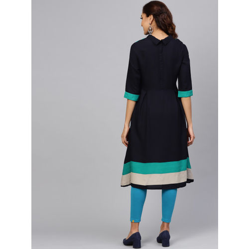 Shree Women Navy Blue Solid A-Line Kurta