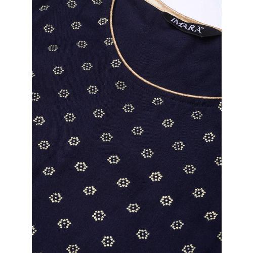 IMARA Women Navy Blue & Golden Embossed Printed Kurta with Trousers