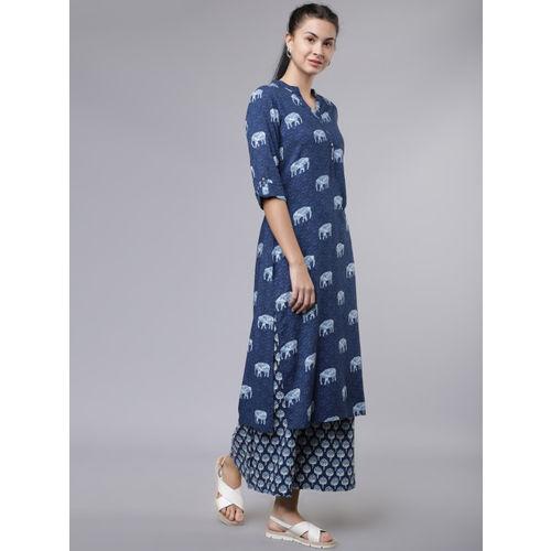 Vishudh Women Navy Blue & White Printed Straight Kurta