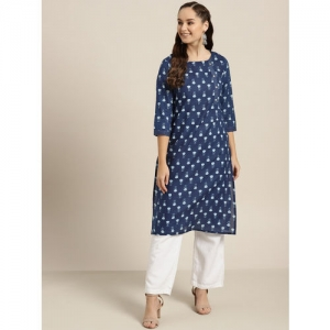Sangria Women Navy Blue & White Printed Straight Kurta