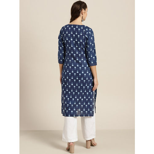 Sangria Women Navy Blue & White Printed Straight Kurta