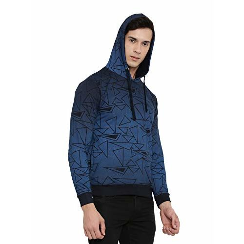 ADRO Men's Fleece Cotton Printed Hoodies (Navy Blue)