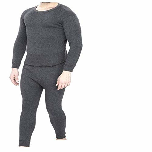 Younky Unisex Winter Body Warmer Thermals Top Pajama and Bottom Combo Set (THML-2016, Black, Free Size)