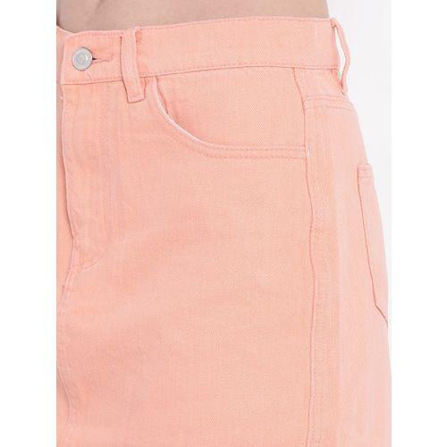 FOREVER 21 Peach-Coloured Denim Mini A-Line Skirt