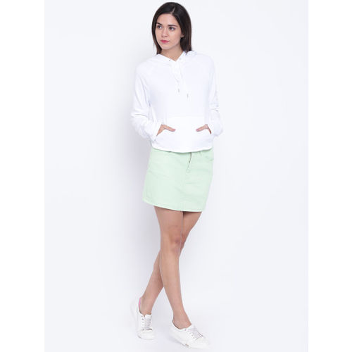 FOREVER 21 Green Denim Mini A-Line Skirt
