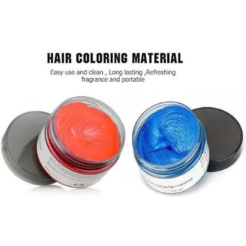 GLOWY UNISEX WASHABLE BLUE & CORAL HAIR COLOR WAX COMBO Hair Color(CORAL, SKY BLUE)