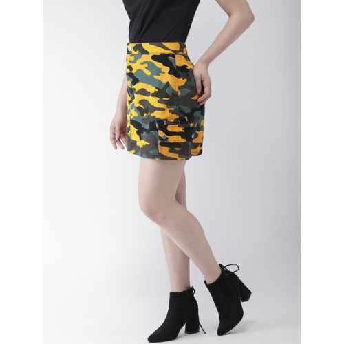 FOREVER 21 Women Yellow & Black Camouflage Print A-Line Mini Skirt