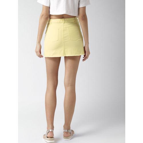 FOREVER 21 Yellow Denim Mini Pencil Skirt