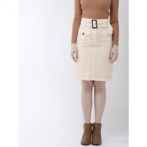 FOREVER 21 Women Cream-Coloured Solid Knee-Length Straight Skirt