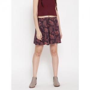 FOREVER 21 Aubergine & Maroon Ethnic Print Skater Skirt