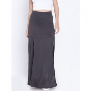 FOREVER 21 Charcoal Grey High Slit Maxi A-Line Skirt