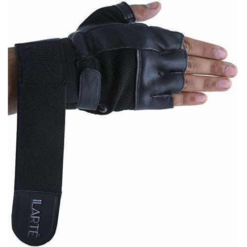 ILARTE Leather Gym Gloves for Man Women Fitness Gym Workout Foam Padded with Double Wrap Elastic Wrist Support 50 cm