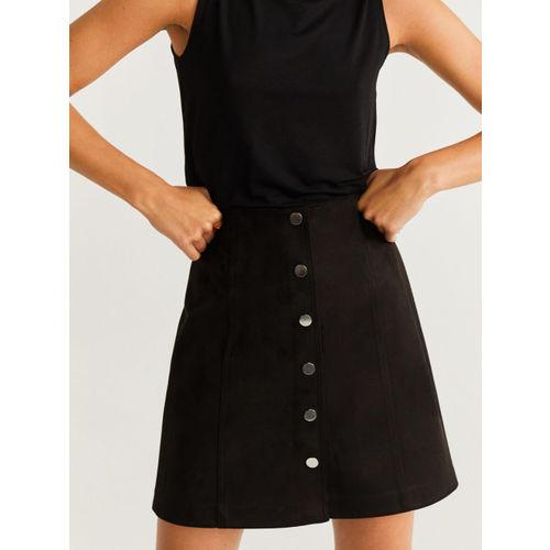 MANGO Women Black Solid A-Line Skirt