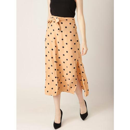 MANGO Women Beige & Black Polka Dots Print A-line Skirt