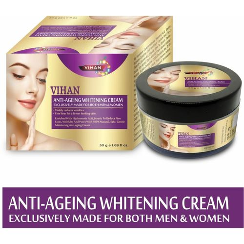 VIHAN Anti Agin Skin Whiting Cream to reduce Fine Lines, Wrinkles and Pores(50 g)