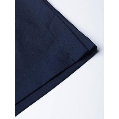 MANGO Women Navy Blue Solid Straight Skirt