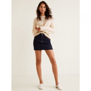 MANGO Women Navy Blue Solid Denim Mini Skirt