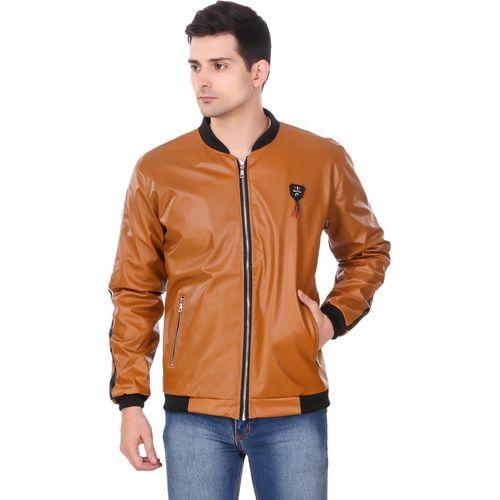 KRITIKA WORLD Tan Leather Solid  Men's Jacket