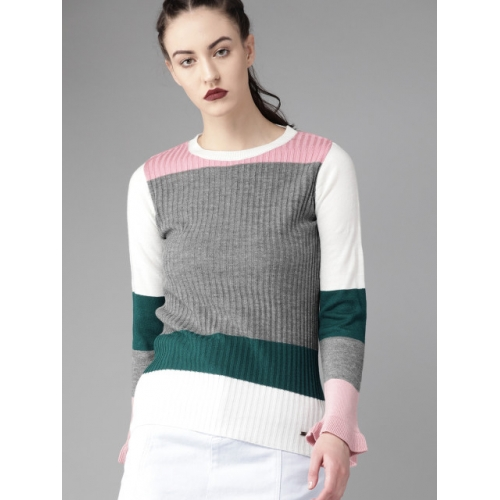 Roadster Charcoal Grey & White Colourblocked Sweater