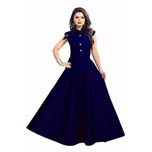 vaidehi creation Women's Tafeta Satin Anarkali Style Gown (Royal Blue, Free Size)