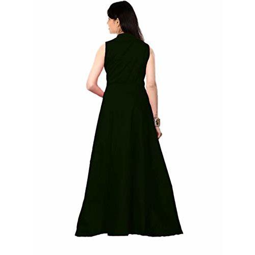 vaidehi creation Women's Tafeta Satin Anarkali Style Gown (Green, Free Size)