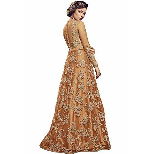 Fashion Basket Womens Nylon Net Embroidered Anarkali Semi Stitched Salwar Suit Gown