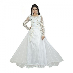 smartshop Women's Anarkali Maxi Semi-Stitched Gown (SS-2000-Parent_White_Free Size)