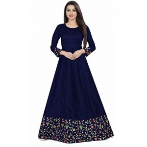 Diya Creation Women's Bhagalpuri Silk Semi Stitched Anarkali Gown (Blue)