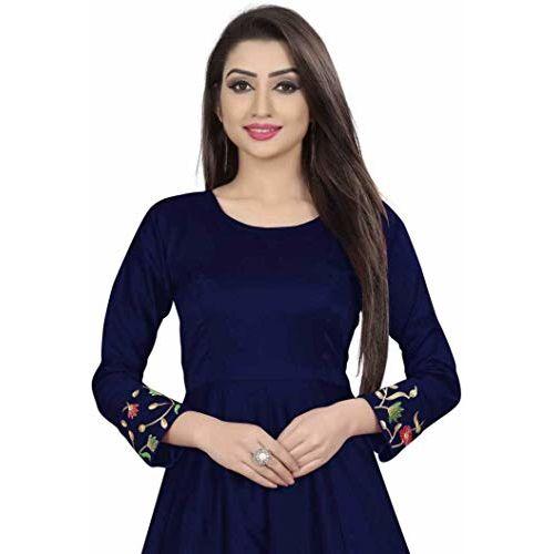 Diya Creation Women's Bhagalpuri Silk Semi Stitched Anarkali Gown (Blue)