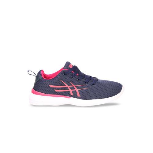 Columbus Women Navy Blue & Pink Mesh Running Shoes