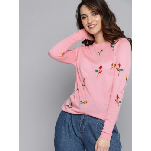 Mast & Harbour Pink Embroidered Pullover Sweater