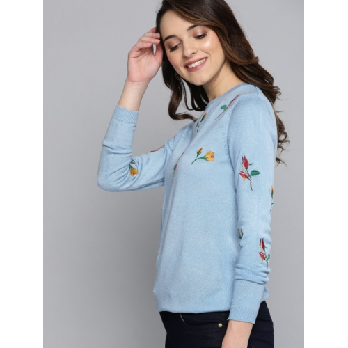 Mast & Harbour Blue Embroidered Pullover Sweater