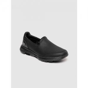 Skechers Women Black Leather GO WALK 5-POLISHED Walking Shoes