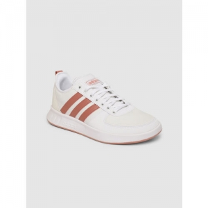 Adidas Women White Court80S Leather Tennis Shoes