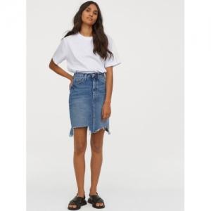 H&M Blue Cotton Denim Solid Straight Mini Skirt