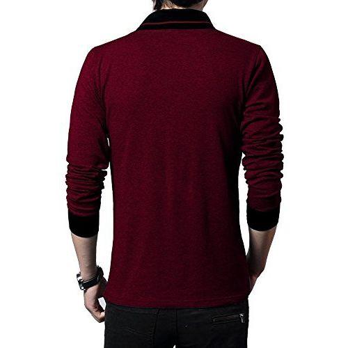 Fashion Gallery Maroon V-Neck Full Sleeves Regular Fit Cotton Tshirt