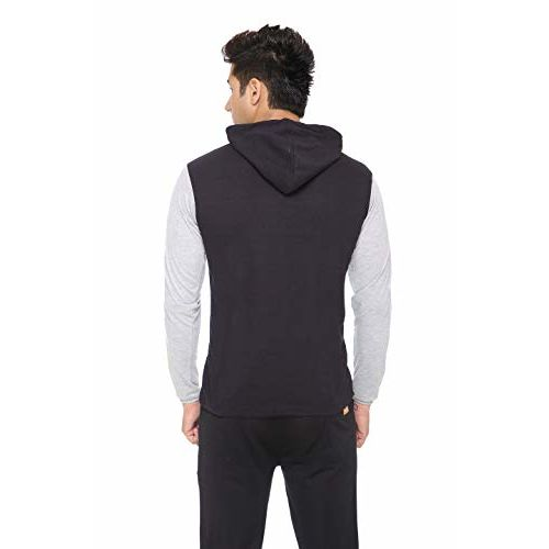 DFH Men blue & grey cotton full sleevs hooded t-shirt