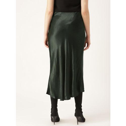 MANGO Women Green Solid Straight Skirt With Satin Finish