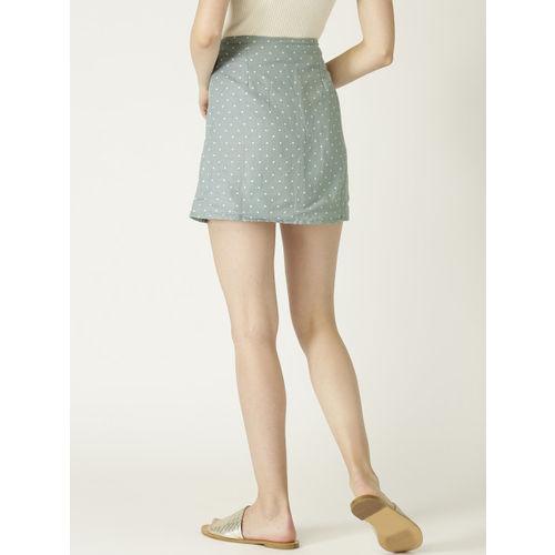 MANGO Women Green & Off White Printed Straight Skirt