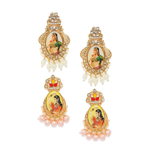 Zaveri Pearls Set Of 2 Gold-Toned & Beige Drop Earrings