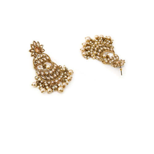 Rubans Gold-Plated Kundan Stone Studded Classic Drop Earrings