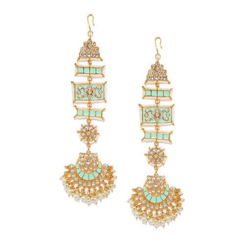 Zaveri Pearls Gold-Plated & Sea Green Crescent Shaped Kundan Studded Chandbalis