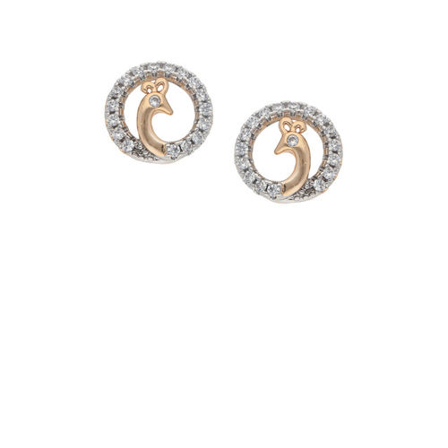 Sia Art Jewellery Silver-Toned & Gold-Plated CZ Circular Studs