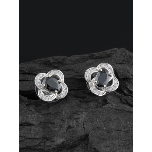 E2O Silver-Plated Black Floral Stone Studded Studs