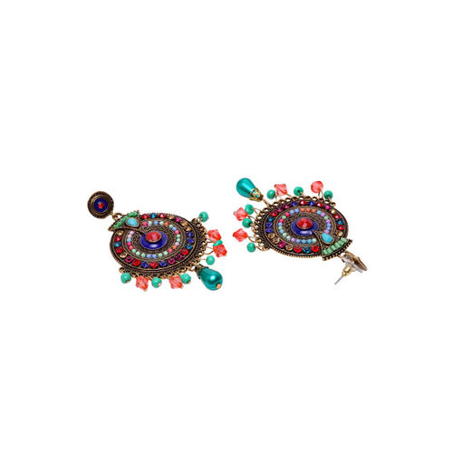 PANASH Gold-Plated & Multicoloured Circular Drop Earrings