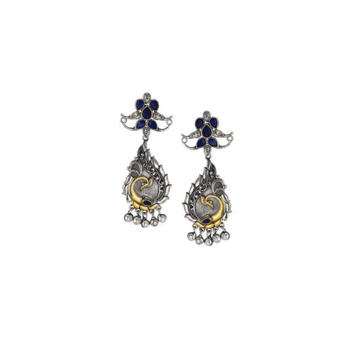 Rubans Silver-Toned & Gold-Toned Peacock Shaped Oxidised Drop Earrings