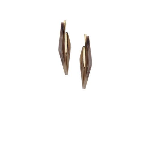 E2O Gold-Plated Brown Geometric Half Hoop Earrings