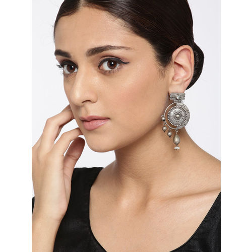 Piroyee Oxidised Silver-Toned Brass-Plated Textured Circular Drop Earrings