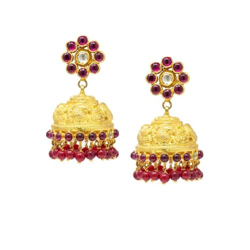 Unniyarcha Jewellery Gold-Plated & Red 92.5 Sterling Silver Dome Shaped Jhumkas